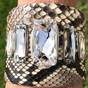 Jewelry - Custom Leather & Swarovski Crystal Cuff